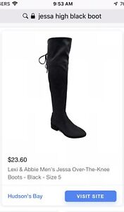 Size 7 Over The Knee Almost Thigh High Black Boots