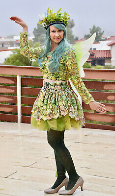 Woodland Green Fairy Costume Halloween Sz M L Skirt Wings Headdress Top - Woodland Fairy Wings