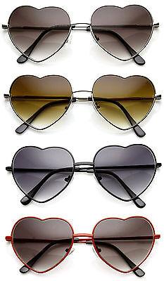 Vintage Retro Fashion Lolita Heart Shaped Aviator Metal Frame Women Sunglasses (Heart Shaped Sunglasses Metal Frame)
