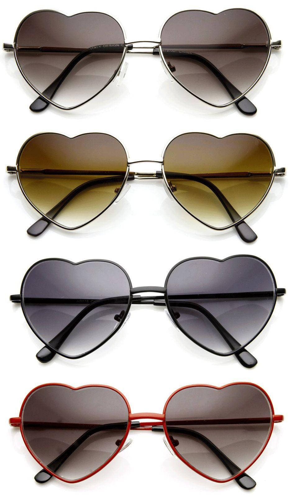 8f01479b10 Details about Vintage Retro Fashion Lolita Heart Shaped Aviator Metal Frame  Women Sunglasses
