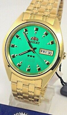 Reloj  Orient  Men's 3 Star Standard Gold Tone Green Dial Automatic Watch  W Box