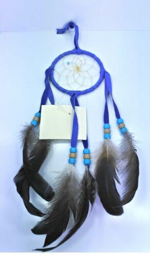 Native American Navajo Dream Catcher  Wall Ornament Wall  3 inches Diameter Blue