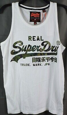 SUPERDRY Men's Vintage Logo Camo Tank Top T-Shirt. SMALL White NEW