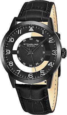 Stuhrling Aviator Japanese Quartz Transparent Dial Leather-Strap Black Watch