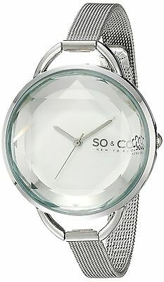 NEW SO & CO New York Women's 5104.1 SoHo Silver Crystal Gem-Cut Face Mesh Watch