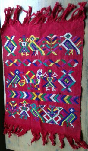 "hand woven wall hanging/mat 17"" x 21½"" folk art figures fringe embroidery Peru"