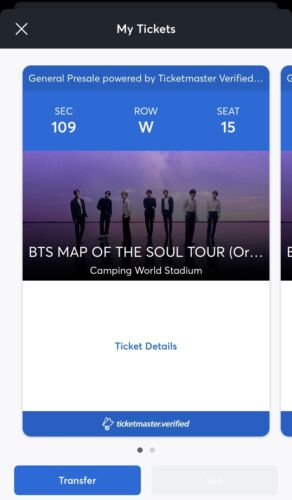 2 BTS S/O Orlando, FL Tickets Sec 109 - $600.00