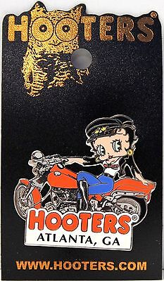 NEW HOOTERS BETTY BOOP GIRL ON MOTORCYCLE BIKE LAPEL PIN - ATLANTA, GA