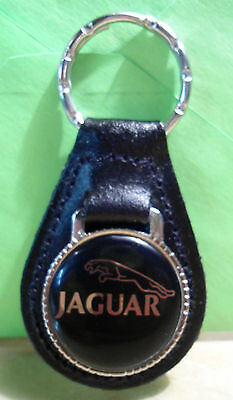 (JAGUAR ~ Black Emblem ~  KEY CHAIN ~ BLACK LEATHER  FOB)