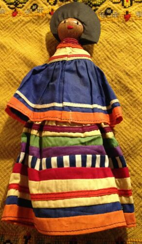 Seminole Indian Palmetto Female Doll Vintage 11 in. made before 1933