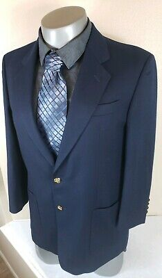 Burberry Men's Blazer 42L 100% Wool  Navy Blue With Gold Buttons