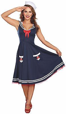 Blue Nautical Sailor Swing Dress Pin Up Girl Fouled Anchor Flap Hat - Pin Up Kostüm Sailor