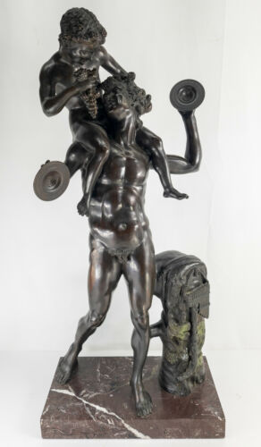 Antique Massive European Style Grand Tour Bronze Faun Satyr with Grapes