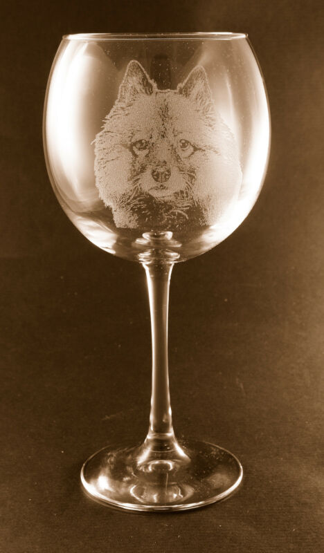 New! Etched Schipperke on Large Elegant Wine Glasses - Set of 2