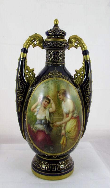 Old Royal Vienna Porcelain Cobalt Blue&Gold Artist Signed Hand Painted Vase Urn