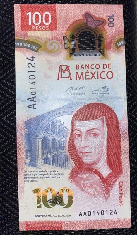 Billete De 100 Pesos Sin Usar Con Serie AA0140124