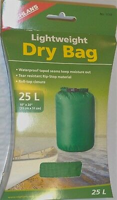 25L LIGHTWEIGHT DRY BAG, WATERPROOF SEAMS,RIP STOP,ROLL-TOP CLOSURE GREEN NIB!