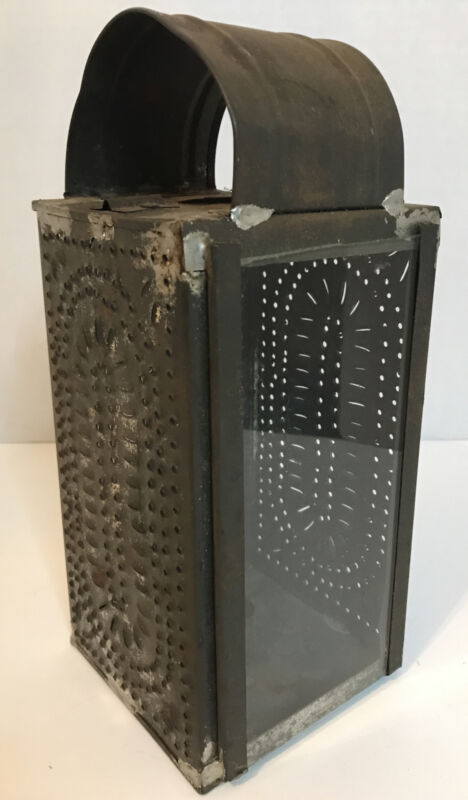 Primitive Antique Pierced/Punched Tin Candle Lantern American Folk Art