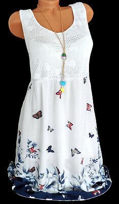 Sommerkleid Freizeit Strandkleid mit Häkelspitze Blumen Weiß Knielang 38 40 42
