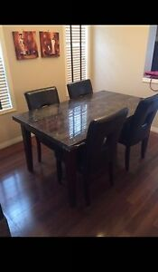 Marble top dining table with 6 chairs brand new condition