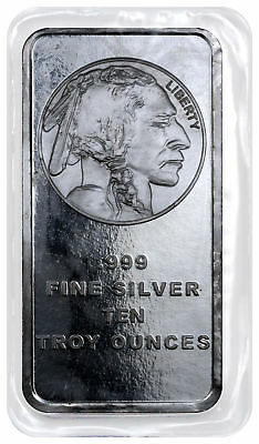 10 Troy oz .999 Silver Bar American Indian - Buffalo Design SKU28953
