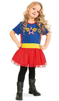 Superhelden Kinder Kostüm starkes Mädchen mit Umhang Gr116 128 Karneval Fasching