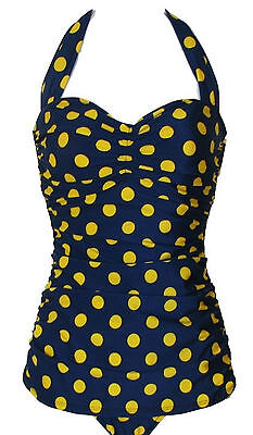 Esther Williams Navy Blue Yellow Polka Dot Pinup 1950's O...