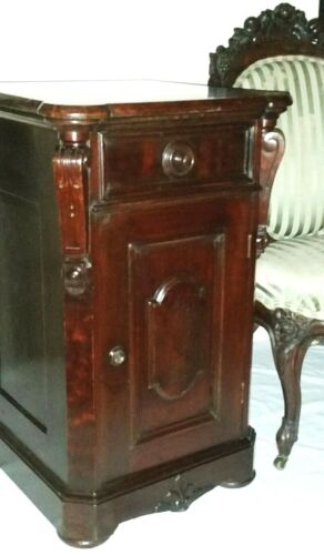 Night Stand, half commode, Renaissance Victorian, c1870, burl walnut, 30t,