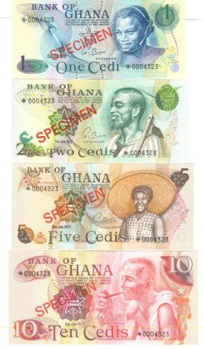 1977 GOVERMENT OF GHANA SPECIMEN BANKNOTES: 1976 $1, 1977 $2, $5, $10 - UNC
