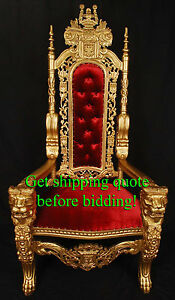 Carved Mahogany King Lion Gothic Throne Chair Gold & Red