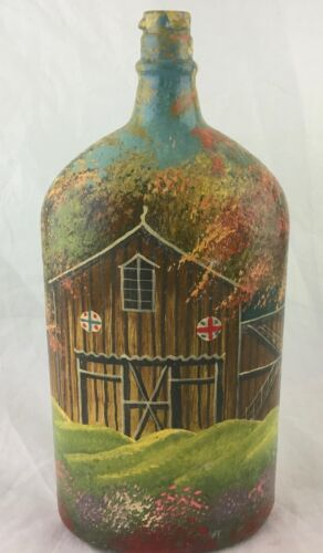 HAND PAINTED BARN HOUSE COTTAGE SCENIC DECORATIVE GLASS BOTTLE FLASK SIGNED
