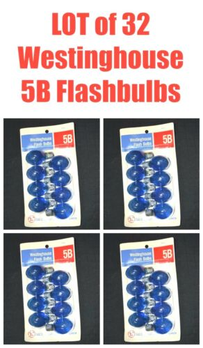 4-PK LOT Vintage Westinghouse 5B Blue Flash Bulbs 32 Total AMaZinG 200279 NEW