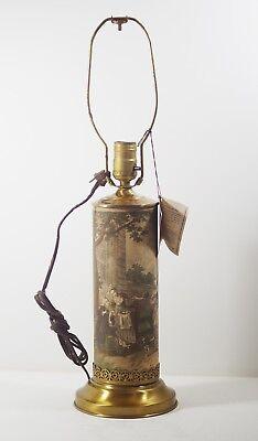 "VINTAGE 1950'S DECOUPAGE ROCOCO SEPIA TOILE 22"" LAMP - PAUL'S"