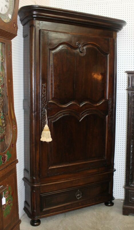 Antique Dark Cherry Carved Normandy Country French Corner Cabinet Circa 1780