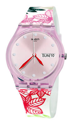 Swatch GP702 Summer Leaves Pink Day Date Dial White Floral Silicone Band Watch