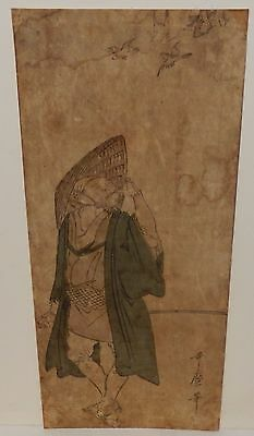 KITAGAWA UTAMARO JAPANESE MAN BIRD CALLING ORIGINAL OLD 19TH CENTURY WOODBLOCK