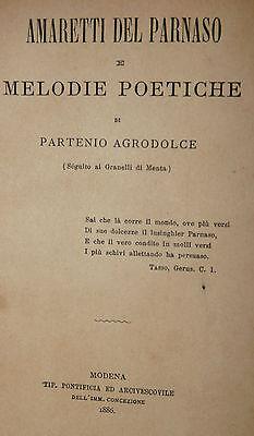 Poesia, Partenio Agrodolce: Amaretti del Parnaso e Melodie Poetiche 1886