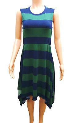 Kiid von Grün Blaue Streifen Taschentuch Saum Kleid Damen M