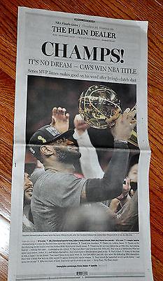 Cleveland Cavaliers Cavs Plain Dealer Entire Newspaper Champs 2016 Nba Finals