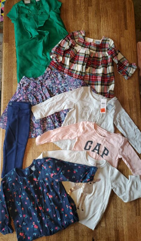 8 Pc Baby Girl Gap Place Clothes Lot Sweater Romper Top Shirt Dress - 18-24 M