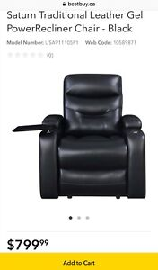 Saturn Traditional Leather Gel Power Recliner Chair - Black