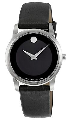 Movado Museum Black Dial Silver Tone Black Leather Women's Watch 0606503 SD9