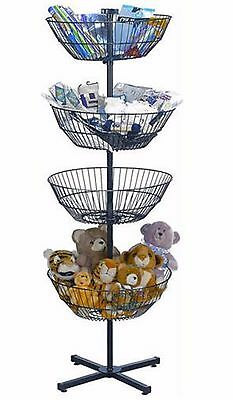 Free Standing Dump Bin Wire Spin Basket Store Display Rotating Tiered Rack 4 63