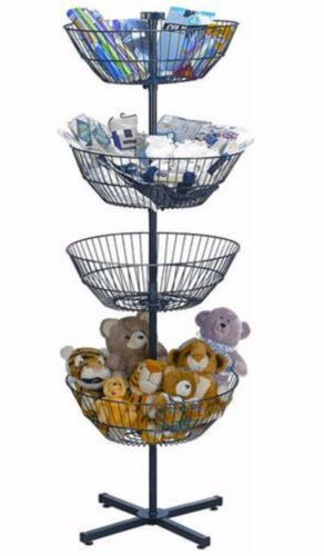 Free Standing Dump Bin Wire Spin Basket Store Display Rotating Tiered Rack 4 63""