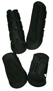 Medium Black Neoprene Splint Tendon Horse Boots 2x Front & 2x Back Complete Set