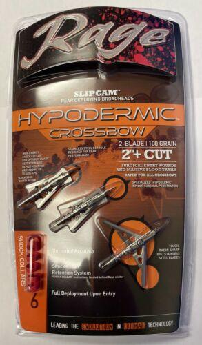 "Rage Hypodermic Crossbow Titanium Broadhead 100 Grain 2"" Cut 3 Pack R39600"