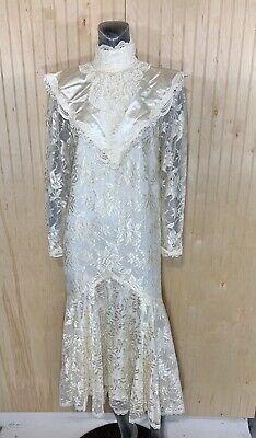 Jessica Mcclintock Wedding Vintage Women 7 Dress Lace Satin Long Sleeve SPOTS  Jessica Lace Wedding Dress