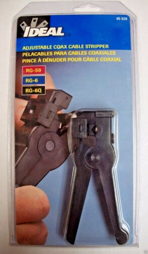 Ideal 45-520 Coax Cable Stripper RG-6 RG-59 3 Adjustable Blades Strip Outer
