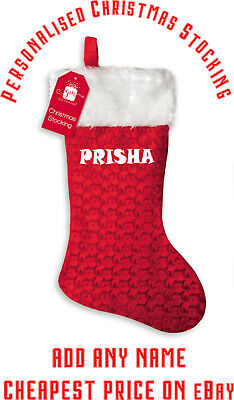 Red Personalised Christmas Stocking Deluxe Fluffy Top ADD ANY NAME - Funky Text ()