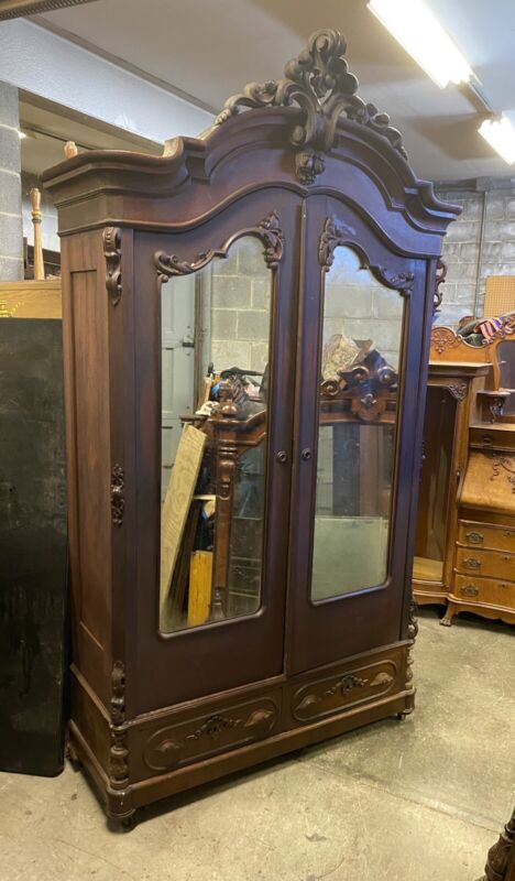 ROSEWOOD CARVED MIRRORED WARDROBE